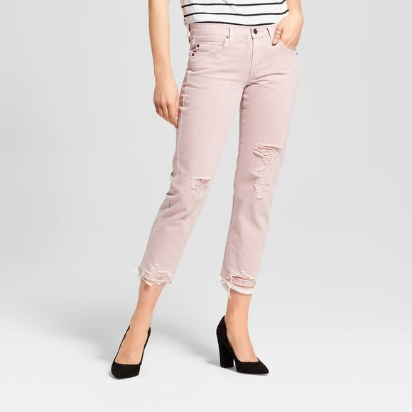 a4857fd9130 Womens Low-Rise Destroyed Cropped Boyfriend Jeans